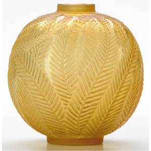 Rene lalique palmes vase of cased yellow glass c 1923 m p 428 no 952 molded r lalique made in france engraved r lalique 952 ht 4 38