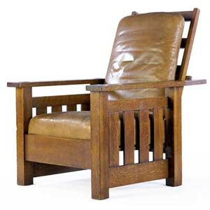 Lifetime flatarm morris chair with dropin spring seat leather upholstery paper label 43 x 32 14 x 36