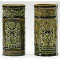 Chelsea keramic art works two cylindrical vases carved embossed and impressed with floral patterns almost a pair each stamped ckaw or full signature 8 x 3 34 7 34 x 3 12