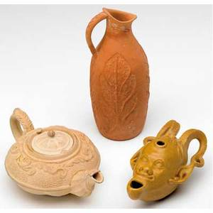Chelsea keramic art works three cabinet pieces miniature teapot or aladin lamp pitcher impressed with leaves and glazed incense burner provenance note with teapot restoration to incense burner e