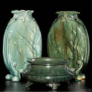 Chelsea keramic art works pair of pillow vases embossed with dragonflies and butterflies and a footed fernery incised with blossoms all in flambe glazes some glaze bubbling to back of dark green va