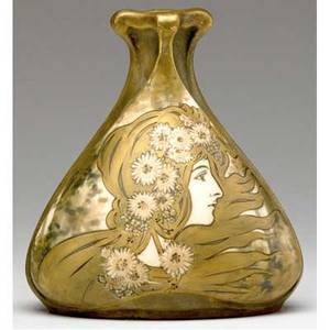 Riessner stellmacher  kessel amphora art nouveau vase with maiden in profile and daisies red rstk turnteplitz amphora unusual amphora turn handsigned medallion 1326 58 13 6 x 5 14