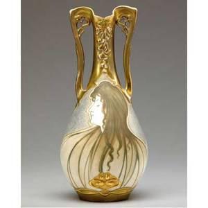 Riessner stellmacher  kessel amphora art nouveau twohandled vase with maiden light wear to gilt red rstk turnteplitz amphora 41 658 10 12 x 5