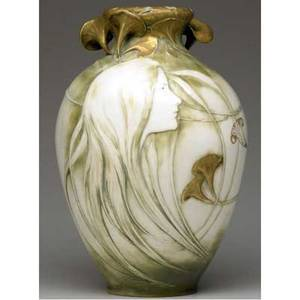 Riessner stellmacher  kessel amphora tall and fine art nouveau vase with a delicate maiden in profile beneath reticulated leaves some wear to guilding amphora 697 52 7501029 red rstk turnt