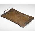 Dirk van erp rectangular hammered copper tray with riveted twisted rope handles in a woodgrain pattern normal wear to original finish windmill stamp with open box 14 x 23