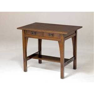 Gustav stickley twodrawer library table with hammered copper oval pulls branded mark 30 x 36 x 24