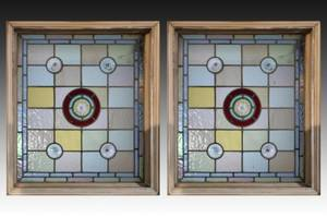 Pair of Stained Glass Bottlecap Jewel Windows