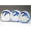 Dedham crackleware three lobster plates one has pinkish cast indigo registered stamps impressed rabbits 7 14