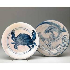 Dedham crackleware two very rare pink plates one a crab plate the other one with a fish indigo stamps and impressed rabbits one has a11 8 12