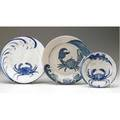 Dedham crackleware three very rare crab plates one pink minor flake to edge of two indigo stamps 6 and 8 12