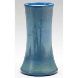 Rookwood scenic vellum vase painted by lenore asbury with a misty landscape 1923 uncrazed flame markxxiiila1358e 7 14 x 4