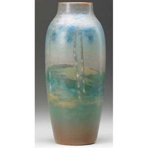 Rookwood scenic vellum vase finely painted by m g denzler with a bucolic landscape 1916 some pitting around shoulder flame markxvi932evmgd 8 x 3
