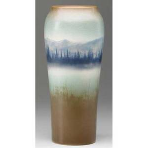 Rookwood tall scenic vellum vase painted by et hurley with a mountainous lakeland scene 1914 flame markxiveth2039cv 11 34 x 4 14