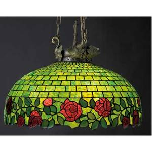 John morgan attrib hanging leaded glass chandelier with red roses on a green base three sockets hardware probably replaced unmarked 39 x 24