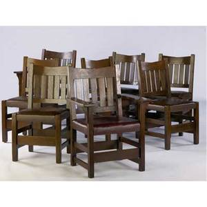 Gustav stickley partly assembled set of eight vback dining chairs no 354 12 six side chairs covered in brown leather and two captains chairs in burgundy leather some are marked side chairs