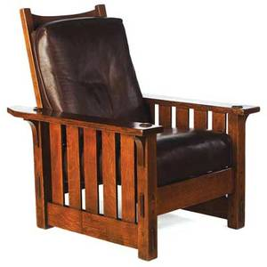 Gustav stickley early morris chair no 2342 with flat arms and slats to floor dropin spring seat and leather cushions ca 1902 early red decal 40 x 36 x 31 12