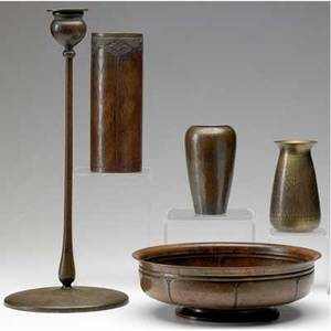 Roycroft  jarvie four hammered copper roycroft pieces two bud vases a bowl and a cylindrical vase with quatrefoils around rim together with jarvie candlestick orb  cross marks to roycroft jarv