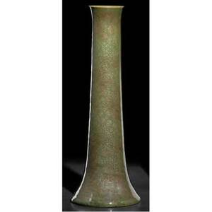 Grand feu exceptional trumpetshaped vase covered in mottled green and brown glossy glaze a spectacular example grand feu pottery la cal 154 12 x 4 14