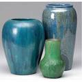 Saturday evening girls  van briggle three vases two by seg in blue glaze and one 1907 van briggle in green glaze overfiring bubbles all marked tallest 9