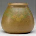 Walrath vase mattepainted with lemons and leaves on a brown ground incised walrath pottery 4 12 x 4 14