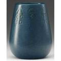 Marblehead pearshaped vase carved and painted with a secessionist pattern in green on indigo ship mark and incised hjh 4 12 x 3 12