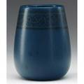 Marblehead tapered vase painted by arthur baggs with black foliate band on speckled matte blue ground faint stamped ship mark b in circle 4 12 x 3 12