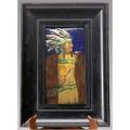 Charles noke ceramic plaque of a native american chief in rich enamellike glazes a couple of short scratches to the surface mounted in original ebonized frame signed cj noke plaque 11 34 x