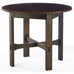 Stickley brothers leathertop lamp table no 132 with circular top and trumpetshaped crossstretchers metal tag 30 x 36 dia