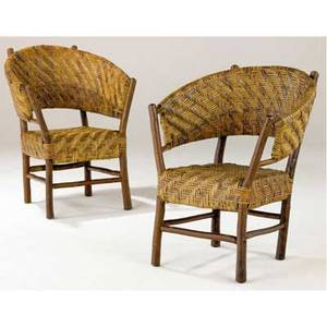 Indiana hickory pair of rare barrel chairs branded indiana hickory furniture co old fay ind 35 x 25 x 24