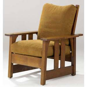 Gustav stickley morris chair with two vertical side slats loose cushions on a sling seat unmarked 37 12 x 30 12 x 33 12