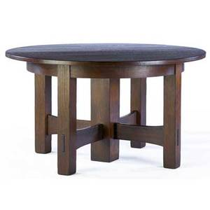 Gustav stickley fiveleg dining table no 634 with circular top and trumpet stretchers complete with five 11 leaves unmarked 30 x 54