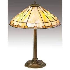 Duffner and kimberly table lamp with a shade of leaded amber glass over a threesocket bronze base unsigned 24 x 18 34
