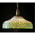 Bradley  hubbard leaded glass hanging fixture with a greek key border in emerald and granitebacked milk glass over a sixsocket cluster complete with original chain and ceiling cap a few short cra