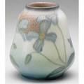 Rookwood decorated mat pearshaped vase painted by k shirayamadani with purple dogwood blossoms 1936 uncrazed flame markxxxvijapanese ciphers 5 x 4 12