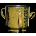 George ohr unusual tyge with three different ribbon handles covered in green flambe glaze and gunmetal interior stamped ge ohr biloxi 4 x 5 12