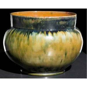 George ohr bulbous vessel covered in olive green amber and raspberry flambe glaze stamped geo e ohr biloxi miss 4 34 x 6