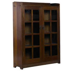 Gustav stickley doubledoor bookcase with gallery top and three fixed shelves red decal and paper label 56 x 43 x 13