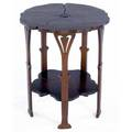 Gustav stickley early maple poppy table no 26 with carved floriform top lower shelf and legs ca 1900 unsigned 23 12 x 20