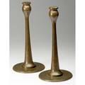 Jarvie attrib pair of tall bronze candlesticks fine original patina unmarked 14 14 x 7