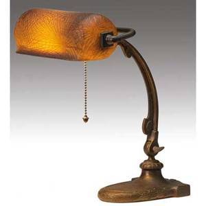 Handel desk lamp with cameo glass shade deeply etched in a pine needle pattern and set in an adjustable base some wear to original patina handel 6132 12 base with cloth label 14 x 10 14