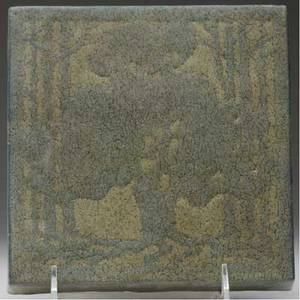 Marblehead tile with a stylized oak tree in shades of graygreen from the collection of arthur baggs daughter mary trowbridge baggs tweet of tolland connecticut two flecks to edges mounted in