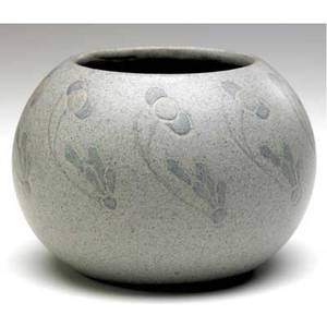 Marblehead spherical vase incised and painted by arthur baggs with stylized flowers in blue and pale yellow on a speckled gray ground ship mark incised ab t 3 12 x 4 34