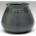 Marblehead beakershaped vase incised and painted with stylized trees in charcoal against a speckled dark greenblue ground ship mark incised ht 3 12 x 4