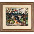 Maxim bugzester polishamerican 19101978 untitled central park oil on board framed provenance private collection massachusetts signed 16 x 19 34