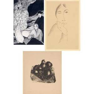 William samuel schwartz russianamerican 18961977 three works on paper framed il trovatore ink 1916 signed dated and titled 19 x 13 sight woman with hand on her cheek charcoal in