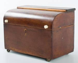 Domed 19th Century Mahogany Tea Caddy