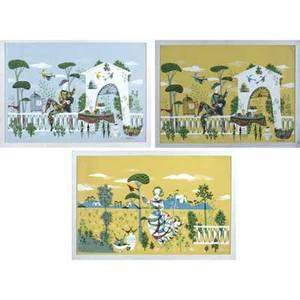 Rene fumeron french b 1921 three large framed silkscreen prints two signed within print sight 46 x 71 12 46 x 66 and 46 x 63 12