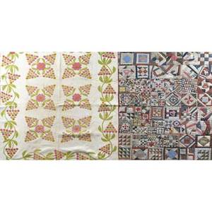 American quilts mid 19th c applique quilt with grapevines in pink and green together with early 20th c album quilt