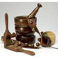 Americana four items wood mortar and pestle wood lemon squeezer powder horn and string of sleigh bells