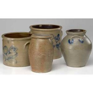 N clark and wa macquoid  co pottery works four stoneware items twogallon and oneandahalf gallon crocks decorated in cobalt with brushed flowers together with unsigned jar and jug provenan